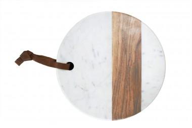 BE HOME Planche ronde en marbre et bois